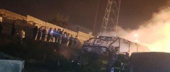 ۱۵ نفر کشته شدند ، برخورد یک تانکر حامل قیر با اتوبوس در سنندج